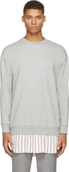3.1 Phillip Lim Heather Cotton Combination Sweatshirt