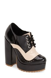 Women's Jeffrey Campbell 'Romeroy' Platform Bootie Black Ivory Leather
