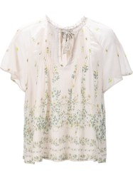 Sea Floral Print Sheer Blouse Nude And Neutrals