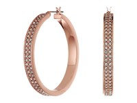 Lauren Ralph Lauren Rose Palais Large Pave Hoop Earrings Crystal Rose Gold Earring