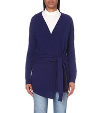 Sandro Edith Wool And Cashmere Blend Cardigan Bleu Nuit