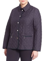Basler Plus Size Quilted Plaid Lined Jacket Marine