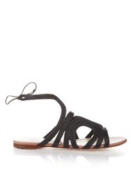 Francesco Russo Braided Leather Flat Sandals Black