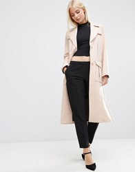 Asos Bonded Trench In Midi Length With Belt Loop Detail Nude Pink