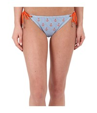 Sperry Seersucker Anchors String Tie Side Chambray Women's Swimwear White