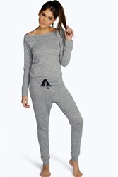 Boohoo Slash Neck Long Sleeve Lounge Jumpsuit Grey Marl
