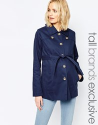 Mama Licious Mamalicious Short Trench Coat Navy