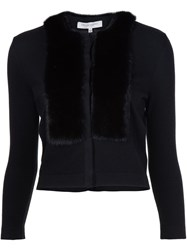 Carolina Herrera Fur Collar Cardigan Black