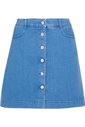 Stella Mccartney Stretch Denim Mini Skirt Blue