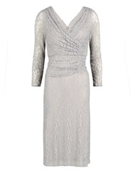 Gina Bacconi Floral Stretch Lace Ruched Dress Silver