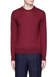 Canali Crew Neck Wool Sweater Red