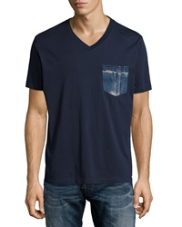 Diesel V Neck Tee With Denim Pocket Navy