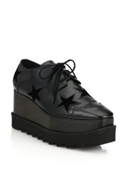 Stella Mccartney Velvet Star Embellished Faux Leather Platform Oxfords Black