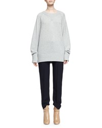 Chloe Chunky Cashmere Crewneck Sweater Gray