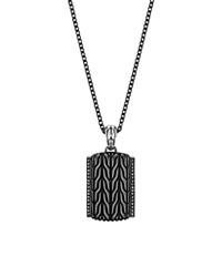 John Hardy Men's Classic Chain Sterling Silver Lava Adjustable Pendant Necklace 22 Black