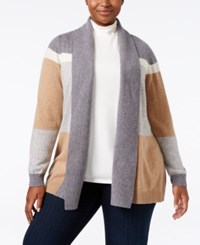 Charter Club Plus Size Cashmere Colorblocked Cardigan Heather Combo