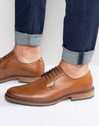 Dune Bunker Leather Derby Brogue Shoes Tan