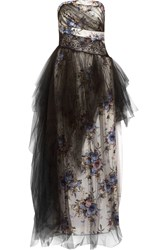 Mikael Aghal Floral Print Satin And Organza Gown Black