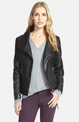 Sam Edelman Lace Up Leather Moto Jacket Online Only Black
