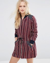 Hazel Zip Front Printed Dress Burgundy Red