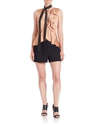 Rachel Zoe Ruffled Deep V Neck Sleeveless Romper Black