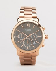Sekonda Chronograph Bracelet Watch With Black Dial Exclusive To Asos Gold