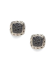 John Hardy Classic Chain Black Sapphire And Sterling Silver Small Square Earrings