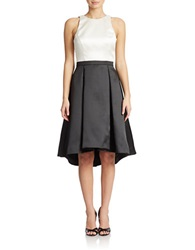 Xscape Evenings Colorblock Pleated High Low Dress Ivory Black