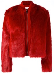 Giamba Cropped Furry Jacket Red