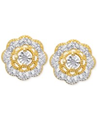 Victoria Townsend Diamond Accent Flower Stud Earrings In 18K Gold Over Sterling Silver No Color