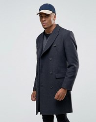 Asos Wool Mix Double Breasted Overcoat In Charcoal Charcoal Grey