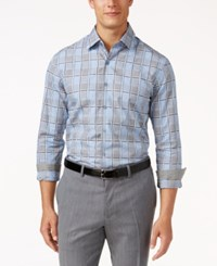 Tasso Elba Men's Sateen Plaid Shirt Only At Macy's Pale Blue