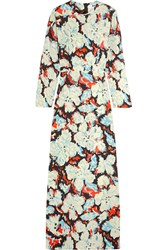 Msgm Printed Silk Twill Gown Light Blue