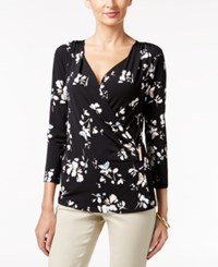 Charter Club Floral Print Faux Wrap Top Only At Macy's Deep Black Combo