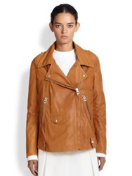 Acne Studios Swift Light Leather Moto Jacket Caramel Brown