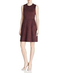 Bagatelle Suede Fit And Flare Dress Burgundy