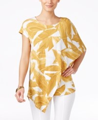 Alfani Short Sleeve Asymmetrical Blouse Only At Macy's Sketch Gold