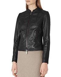 Reiss Clo Fitted Leather Jacket Black