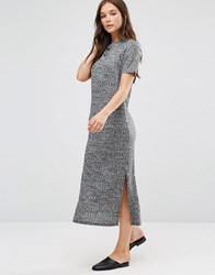 B.Young Short Sleeve Knitted Bodycon Dress Dark Grey Melange