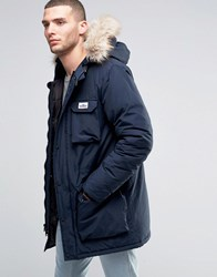 Penfield Lexington Mountain Parka Faux Fur Trim Navy