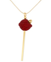 Sis By Simone I Smith 18K Gold Over Sterling Silver Necklace Medium Red Crystal Lollipop Pendant