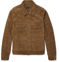 Saint Laurent Aint Nake Print Corduroy Jacket Brown