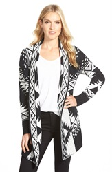 Caslon Open Front Patterned Cardigan Black Ivory Tribal Pattern