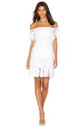 Nicholas Sunflower Lace Off Shoulder Dress White