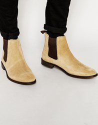 Asos Chelsea Boots In Stone Suede With Back Pull Stone
