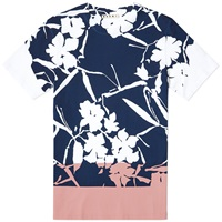 Marni Contrast Panel Flower Tee White Navy And Pink