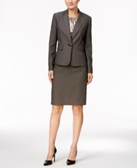 Le Suit Three Piece Textured Tweed Skirt Cobblestone