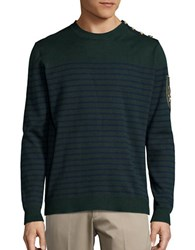 Laboratory Lt Man Cotton Blend Striped Crewneck Sweater Emerald Green