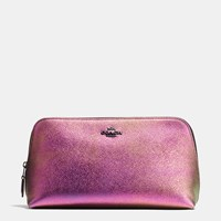Coach Cosmetic Case 22 In Hologram Leather Dk Multicolor