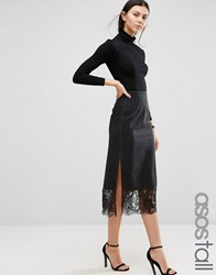 Asos Tall Denim Midi Washed Black Slip Skirt With Lace Washed Black